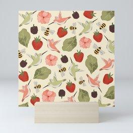 Hummingbirds in the Garden Pattern Mini Art Print