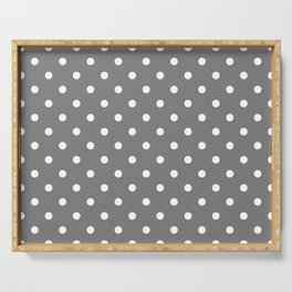 Grey & White Polka Dots Serving Tray