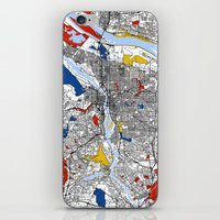 portland iPhone & iPod Skins featuring Portland by Mondrian Maps