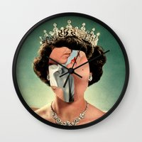 queen Wall Clocks featuring Queen by Victoria Ulrikke Iles