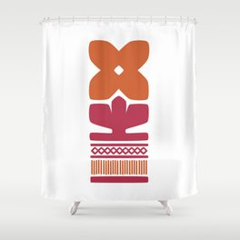 Nordic Orange Flower Shower Curtain