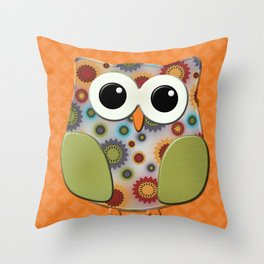 Colorful Floral Owl on Orange Throw Pillow