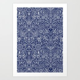 Detailed Floral Pattern in White on Navy Art Print