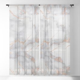 Gray Marble Rosegold  Glitter Pink Metallic Foil Style Sheer Curtain