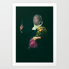 Noble Girl Athlete with Bouquet of Flowers  Art Print
