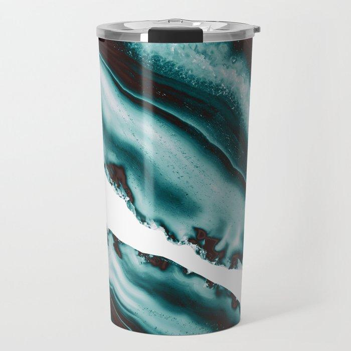 Turquoise Brown Agate #1 #gem #decor #art #society6 Travel Mug