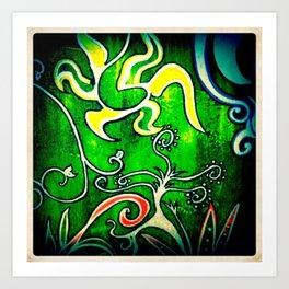Green Floral Art Print