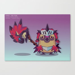 Pixel the Monster Hunting Pug Canvas Print