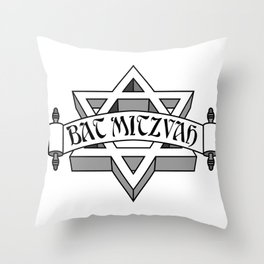 Bat Mitzvah with silver scroll &  Star of David  Throw Pillow