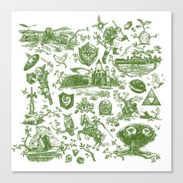 "Zelda ""Hero of Time"" Toile Pattern - Kokiri's Emerald Canvas Print"