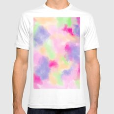 Modern colorful pink purple pastel watercolor paint abstract background Mens Fitted Tee MEDIUM White