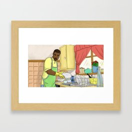 Ye Washing Dishes Framed Art Print