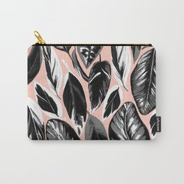Calathea black & grey leaves with pale background Carry-All Pouch