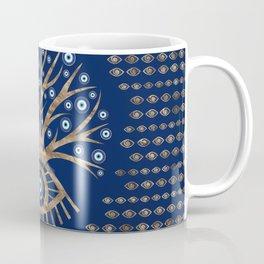 Greek Eye Tree - Mati Mataki - Matiasma Gold and blue Coffee Mug