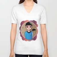 spock V-neck T-shirts featuring Spock by hannahroset