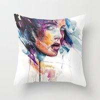 agnes Throw Pillows featuring sheets of colored glass by agnes-cecile