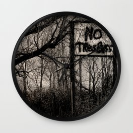 NO Trespass Wall Clock