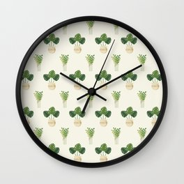 Modern ivory green tropical cheese monster leaves floral Wall Clock