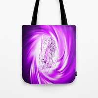 erotic Tote Bags featuring Space and time 8  Erotic by Walter Zettl