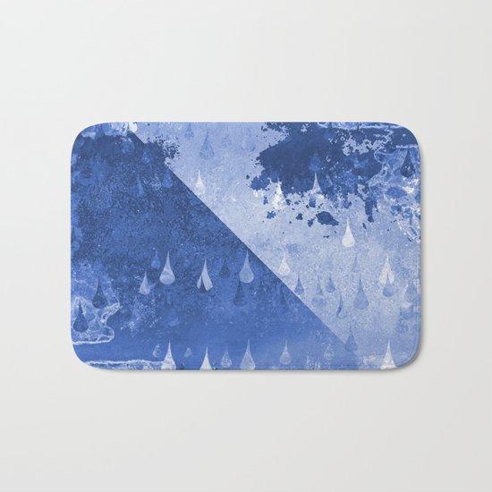 Abstract Blue Rain Drops Design Bath Mat