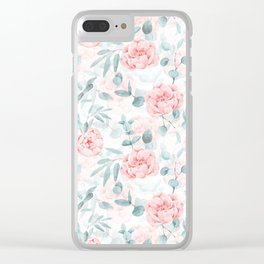 Rose Blush Watercolor Flower And Eucalyptus Clear iPhone Case