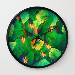 Tropical Leaves 13 Wall Clock