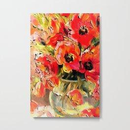Poppies In A Glass Vase Black Outline Art Metal Print