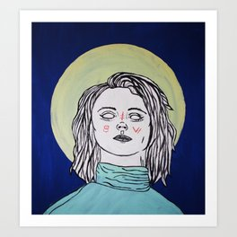 Turtleneck & Moon Art Print
