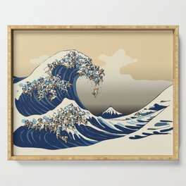 The Great Wave of Pugs Vanilla Sky Serving Tray