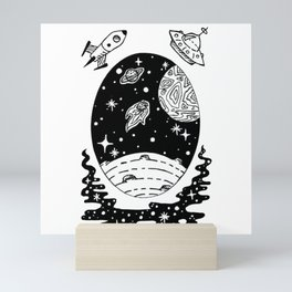 Space Themed Illustration — Comet Flying Past Planets Galaxy Design Mini Art Print