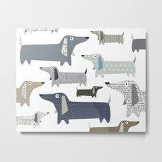 Wiener Dog Pattern Metal Print