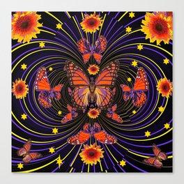 SUNFLOWER FIREWORKS MONARCH BUTTERFLIES ART Canvas Print