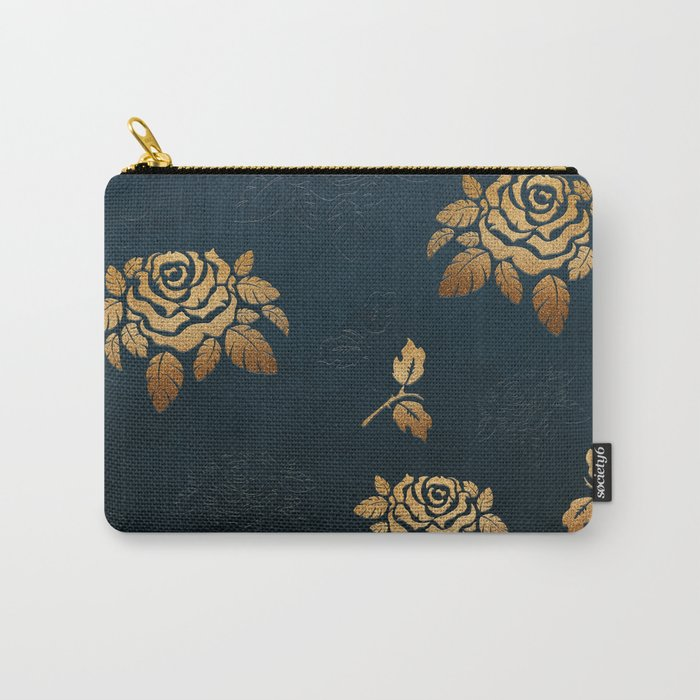 Golden Rose - Glitter Pattern Carry-All Pouch