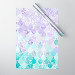 Mermaid Iridescent Purple and Teal Pattern Wrapping Paper