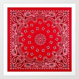 Paisley - Bandana Art - Red - Southwestern Art Print