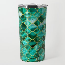 Quatrefoil Moroccan Pattern Green Malachite and gold Travel Mug