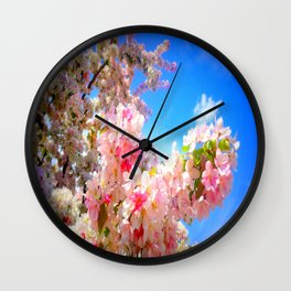 Pink Flowers Blue Sky Wall Clock