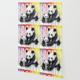 Rainbow Pandas Watercolor Mom and Baby Panda Nursery Art Wallpaper