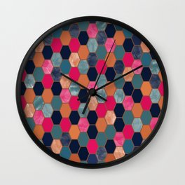 Colorful Honeycomb Wall Clock