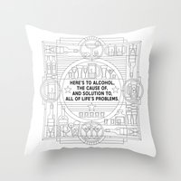 alcohol Throw Pillows featuring Here's to alcohol... by Mark Gonyea