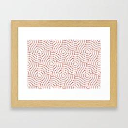 Pantone Living Coral Circle Swirl Pattern on White Framed Art Print