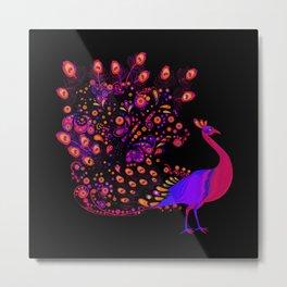 Neon Peacock Metal Print