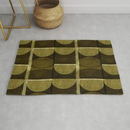 """""""Retro Olive green Chained Circles"""" Rug"""