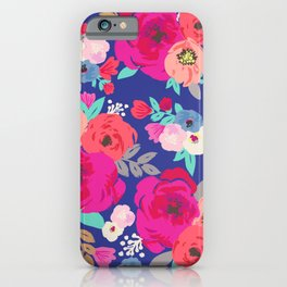 Sweet Pea Floral Blue iPhone Case