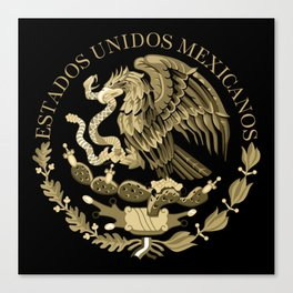 Mexican flag seal in sepia tones on black bg Canvas Print