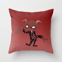 soul eater Throw Pillows featuring little demon soul eater by Rebecca McGoran
