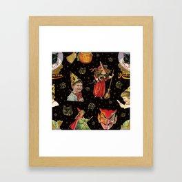 Vintage Halloween Party in Black Cat + Gold Celestial Framed Art Print