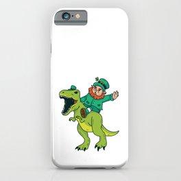 St Patricks Day Leprechaun Trex Dinosaur Kids Boys iPhone Case