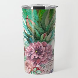 Floral Pineapple Travel Mug