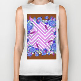 Geometric coffee brown & pink  Morning Glories Biker Tank